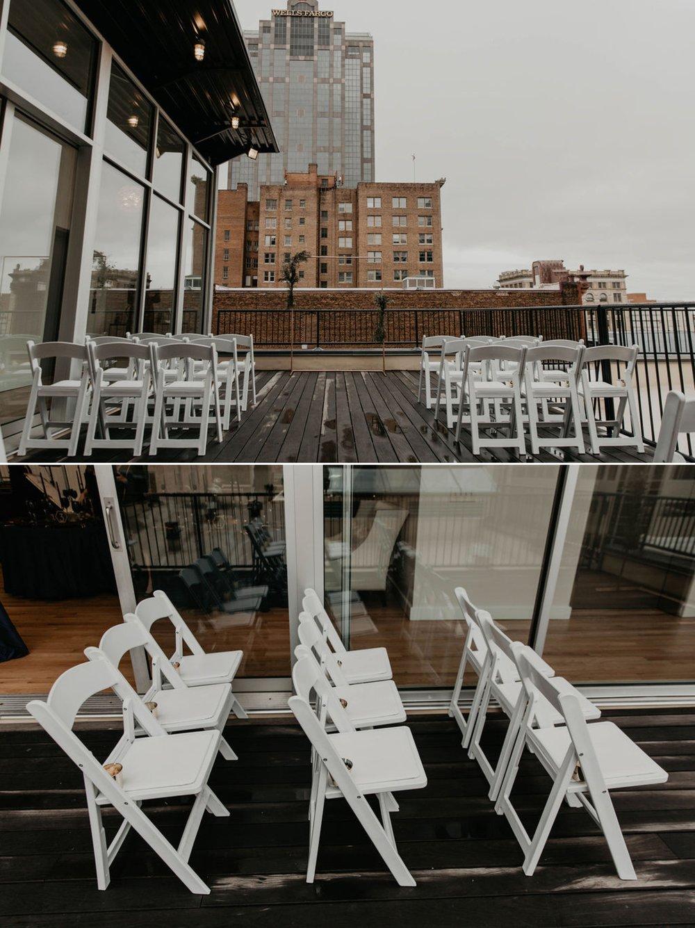 Wedding Ceremony Details on a rooftop terrace with the skyline in the background - Matt Smarsh and Johanna Dye - Raleigh North Carolina Urban Downtown Wedding at the Glass Box at 230