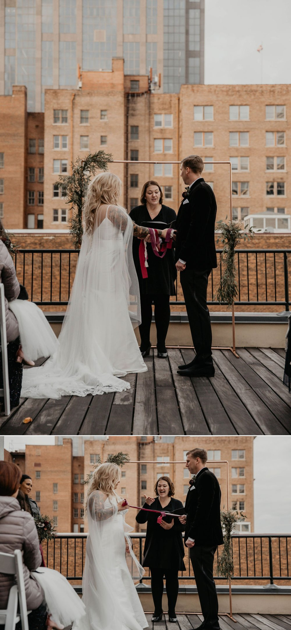 Tying the knot tradition - Wedding Ceremony on a rooftop terrace with the skyline in the background - Matt Smarsh and Johanna Dye - Raleigh North Carolina Urban Downtown Wedding at the Glass Box at 230