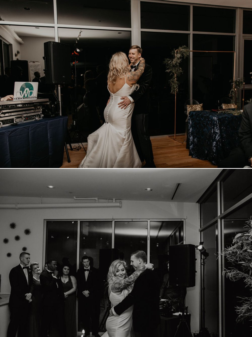 First dance between bride and groom - Matt Smarsh and Johanna Dye - suites by the black tux - Raleigh North Carolina Urban Downtown Wedding