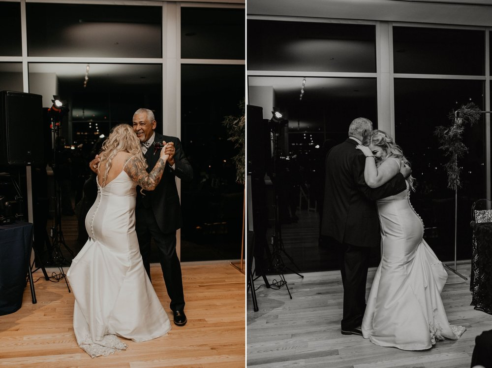 First dance between bride and her father - Matt Smarsh and Johanna Dye - suites by the black tux - Raleigh North Carolina Urban Downtown Wedding
