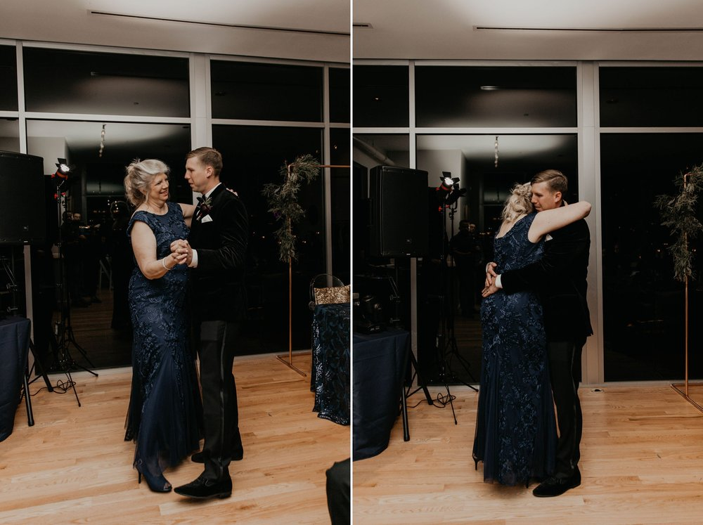 First dance between groom and his mom - Matt Smarsh and Johanna Dye - suites by the black tux - Raleigh North Carolina Urban Downtown Wedding
