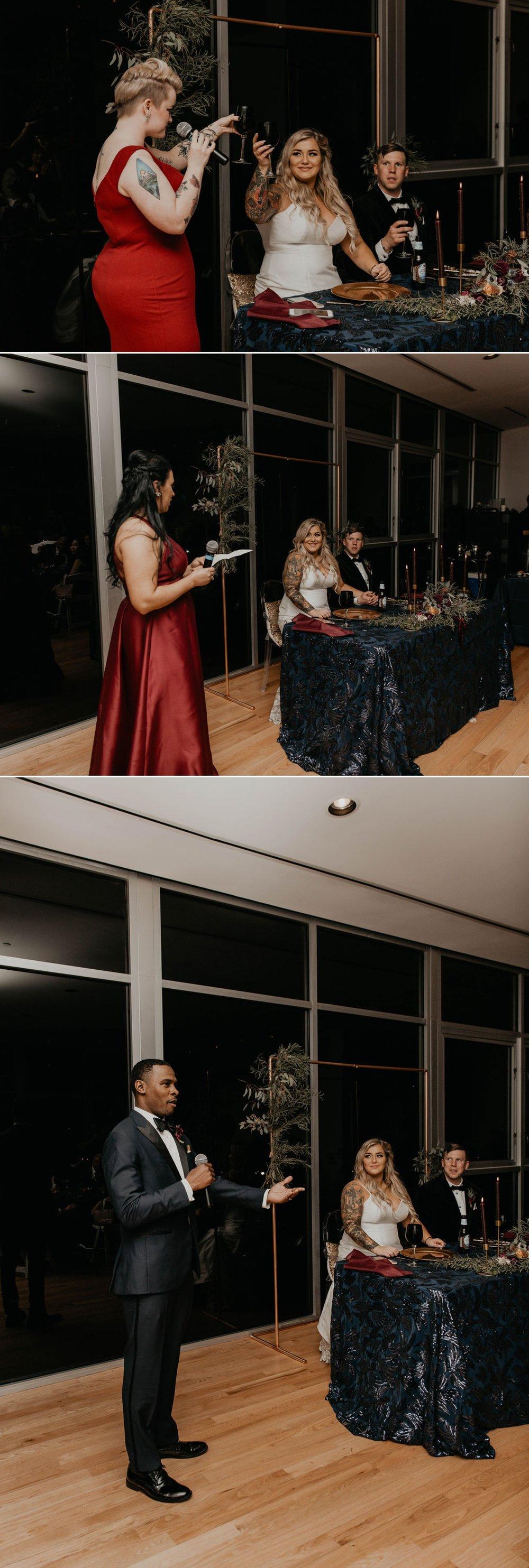 Toasts -  Matt Smarsh and Johanna Dye - suites by the black tux - Raleigh North Carolina Urban Downtown Wedding