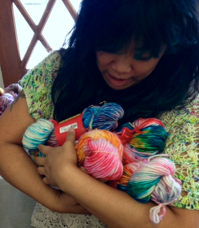 "One can't help but cradle ""Neon Kawaii"" from Juniortown Knits! (And yes I was singing to them:)"