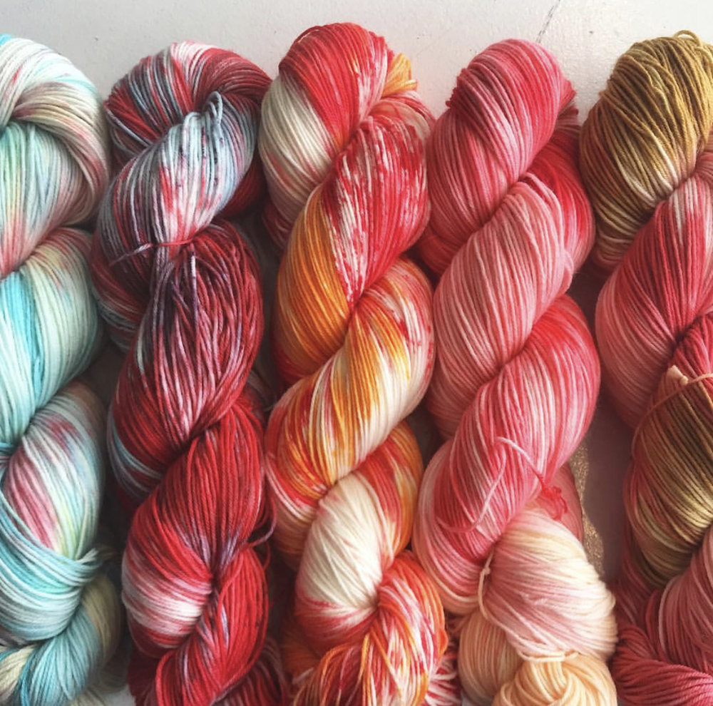 Skeins dyed in our last workshop!