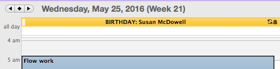 What the birthday reminder looks like in my Outlook calendar.