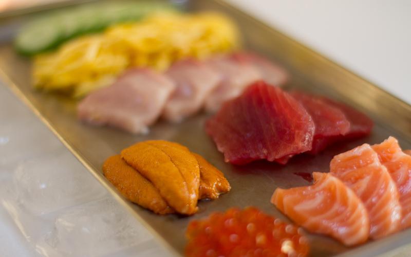 Toppings: uni, maguro, ikura, salmon, hamachi, egg, cucumbers, shiso