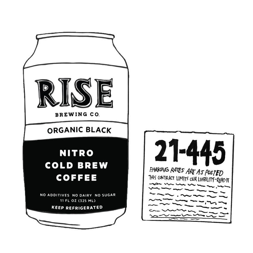 Rise Nitro Cold Brew Coffee, parking garage ticket