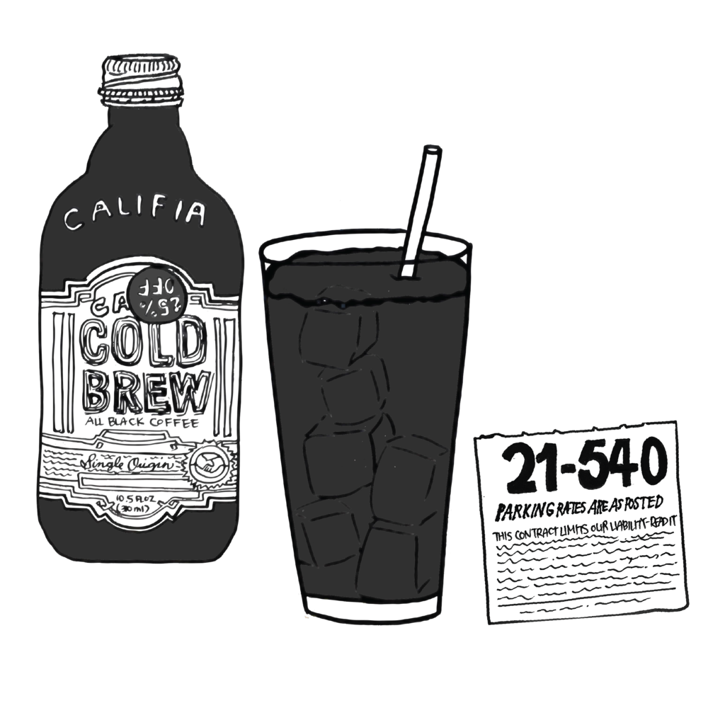 Califia Cold Brew Coffee, iced coffee, parking garage ticket