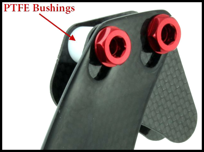 "PTFE(Teflon) Bushings are used in the upper guide to prevent unwanted ""grazing"" sounds from the chain."