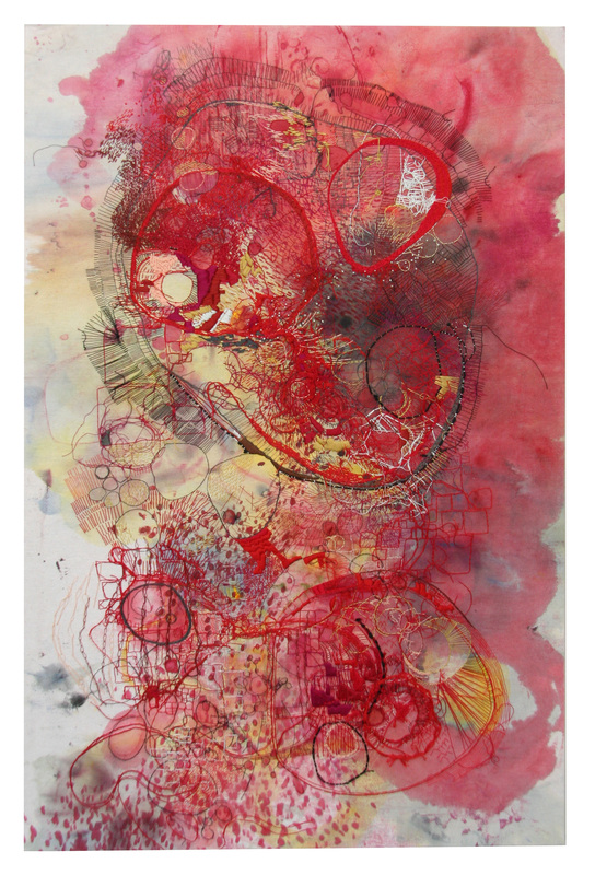'red' / embroidery, ink & gouache on cotton / winter-spring 2013