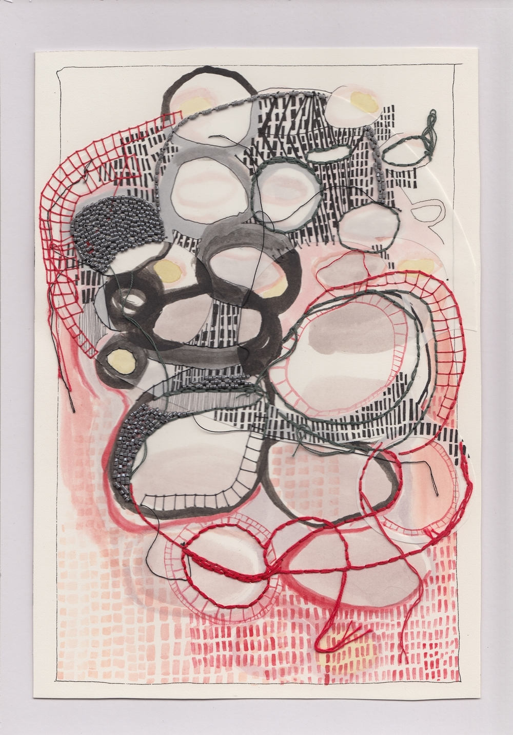 'abstracting memories from 2003' / embroidery, ink & beading on paper / 2015