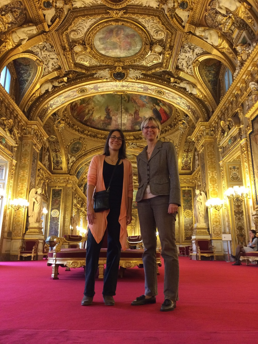 Anne Trager and Frédérique Molay in Paris, at the French Senate.