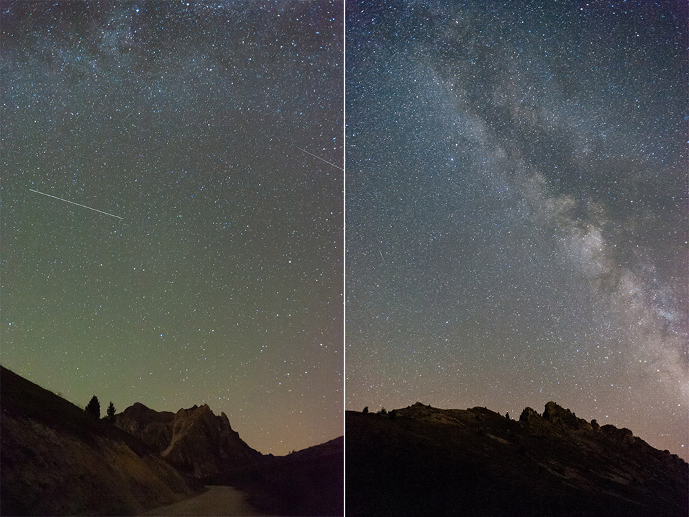 The difference between a sky without the milky way (left) and with (right). Much better with it, isn't it ?