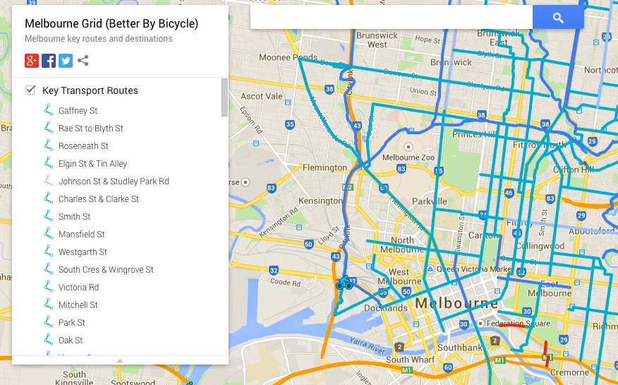 Bicycle map developed by Adrian