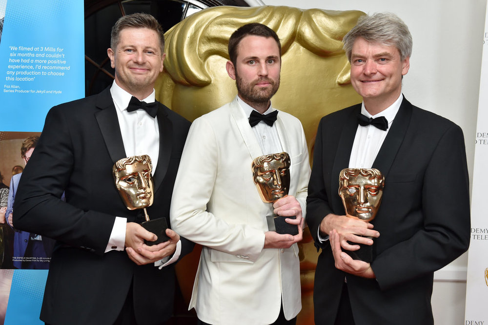 Myself on the Left, with Rob Whitworth and John Aitchison, winning a Bafta for cinematography on Planet Earth 2, Urban Program. 2017