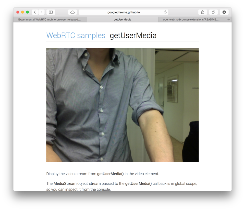 Running the app http://googlechrome.github.io/webrtc/samples/web/content/getusermedia/gum/ in Safari