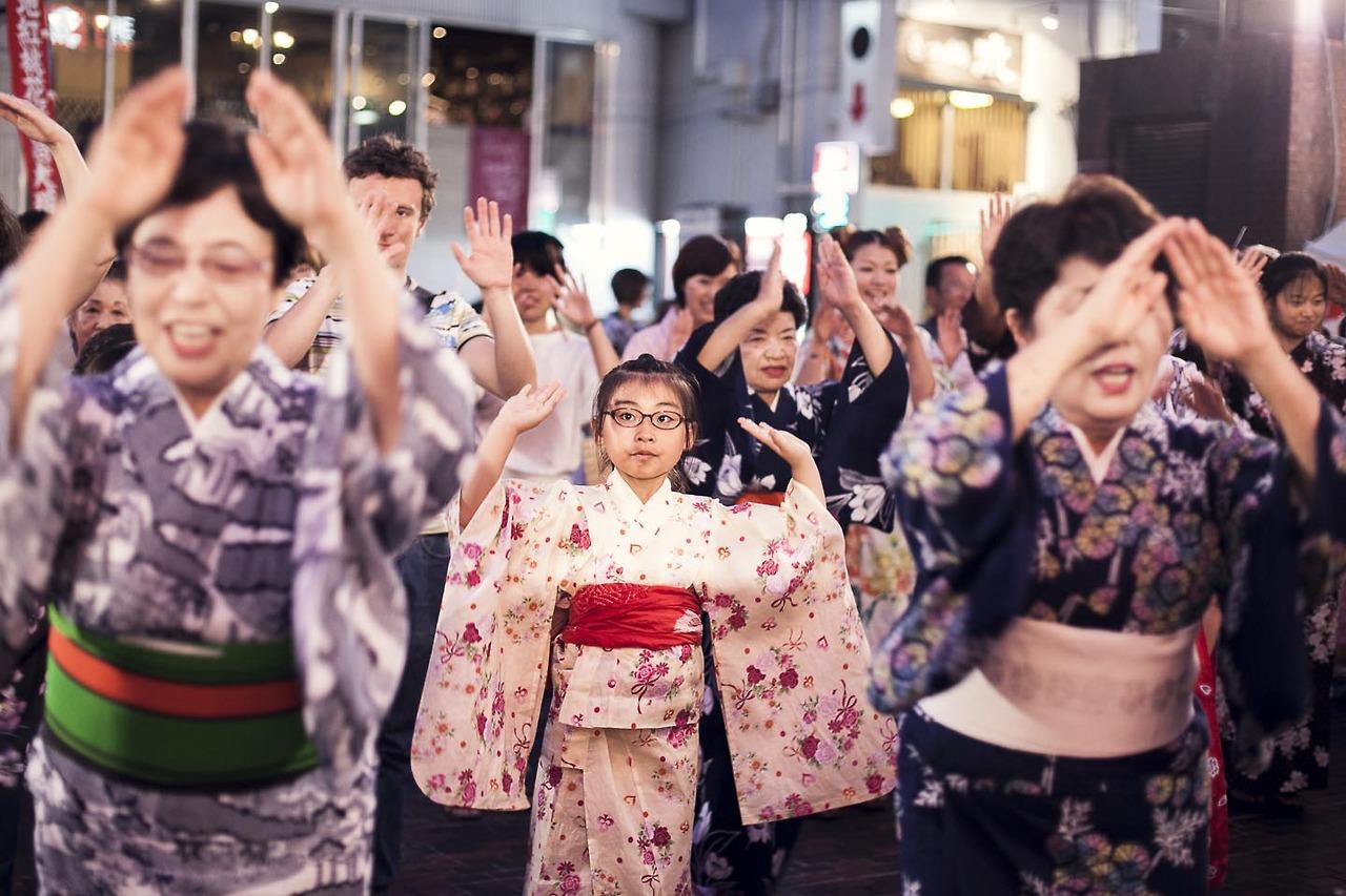 Another average day in Hiroshima. No actually this is Tokasan the yukata (summer kimono) festival.
