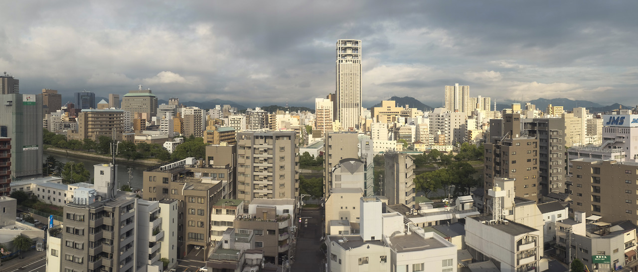 Random panorama. More or less out of cam (X100s). From a Hiroshima & Peace event.