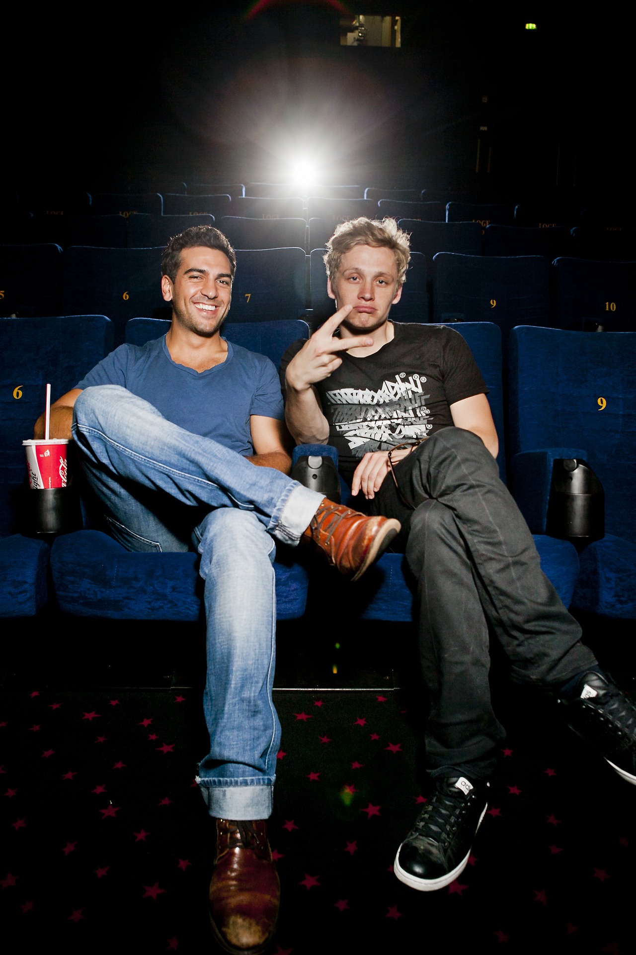 Elyas M'Barek and Matthias Schweighöfer in Bremen 2011. Doing a cinema tour for your own movie sure must be tyring…