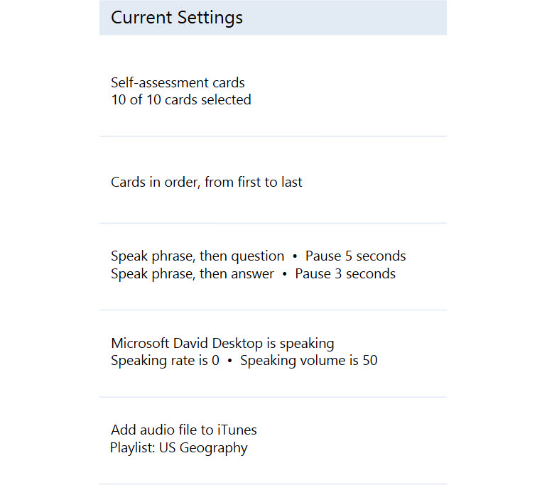 Flashcard settings are displayed in an easy to understand way