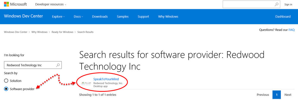 "Searching the Ready for Windows 10 Directory by ""Software Provider"""