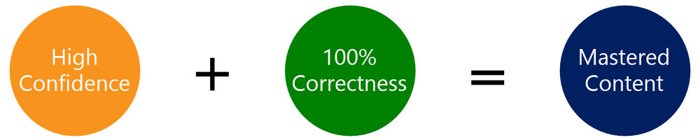 Confidence and correctness equals mastered flashcard content