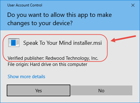 Speaktoyourmind Flashcard app Installation setup wizard user account control prompt showing verified publisher redwood technology, inc. windows 10