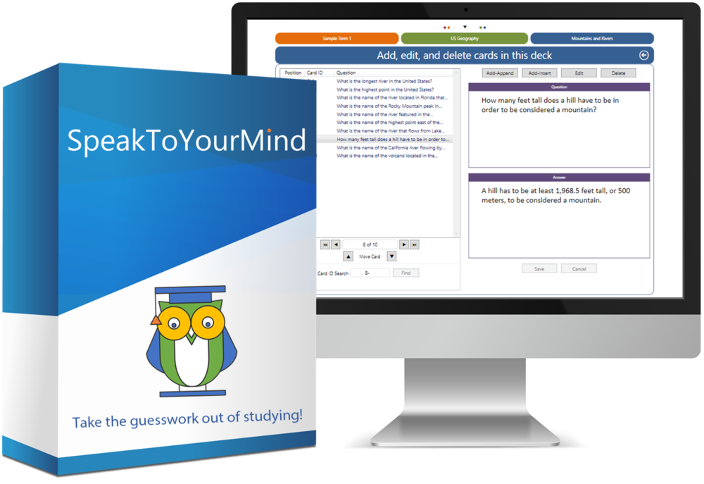 speaktoyourmind flashcard app software box and monitor showing screen for creating your own flashcards