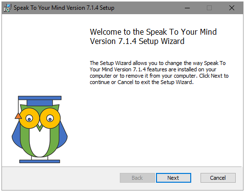 Speaktoyourmind flashcard app installation setup wizard welcome screen on Windows 10