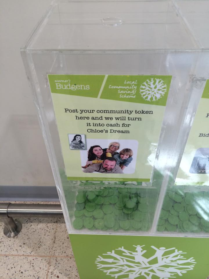 Tokens at Warner's Budgens for 'Chloe's Dream' fund.