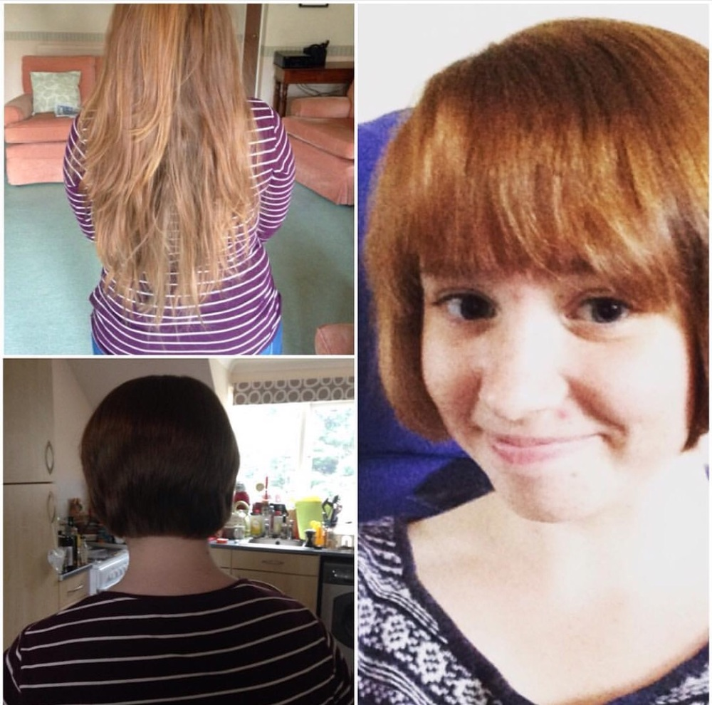 Before and After- Lizzi's first hair cut by a hairdresser in six years!