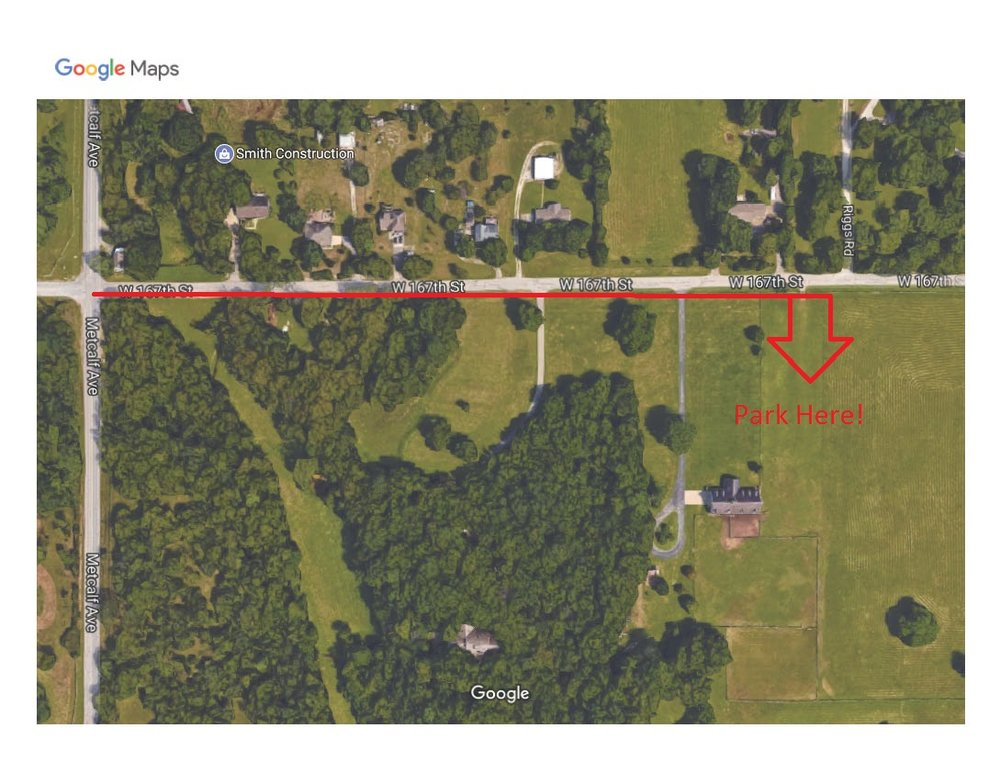 Parking Map - Head down 167th street until you are able to turn right towards a large open field. Parking is available here. Registration will be held by the barn.