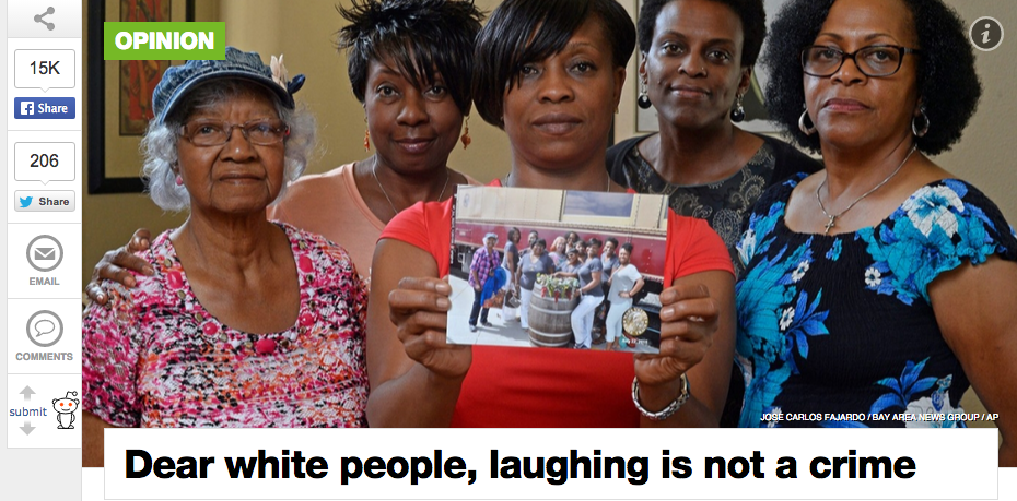 """DEAR WHITE PEOPLE: LAUGHING IS NOT A CRIME"", AL JAZEERA, AUGUST 28"