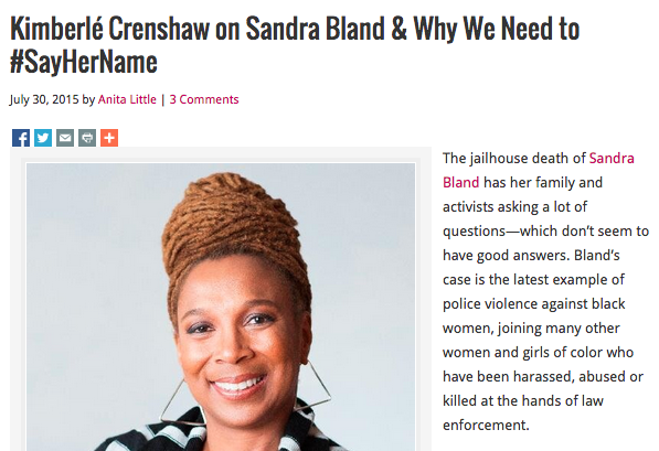 """kimberlé CRENSHAW ON SANDRA BLAND & WHY WE NEED TO #SAYHERNAME"", MS MAGAZINE, JULY 30"
