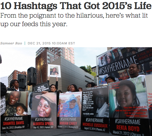 10 HASHTAGS THAT GOT 2015'S LIFE, COLORLINES, 12/21/15