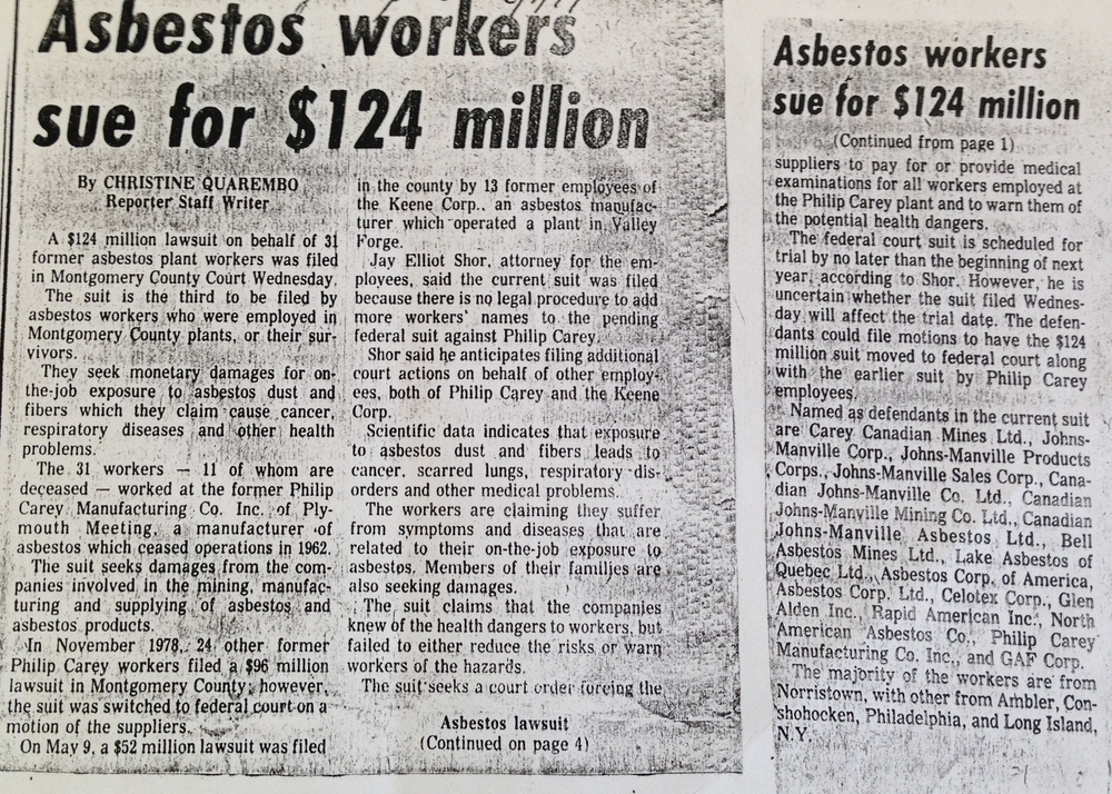 """Asbestos Workers Sue for $124 Million,"" 1979.    Ambler Gazette   , June 1, 1979. Courtesy Ambler Public Library. Copyright Montgomery Media."