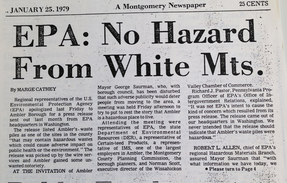 """EPA: No Hazard from White Mts.,"" 1979.    Ambler Gazette,    January 25, 1979. Courtesy Ambler Public Library. Copyright Montgomery Media."