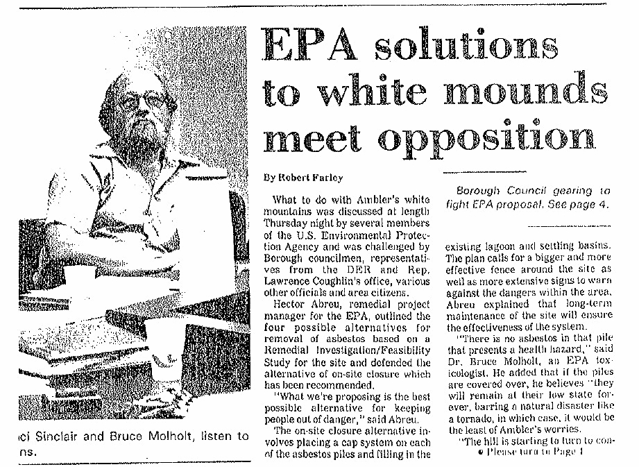 """EPA Solutions to White Mounds Meet Opposition,"" 1988.    Ambler Gazette   , June 22, 1988. Courtesy Historical Society of Montgomery County. Copyright Montgomery Media."