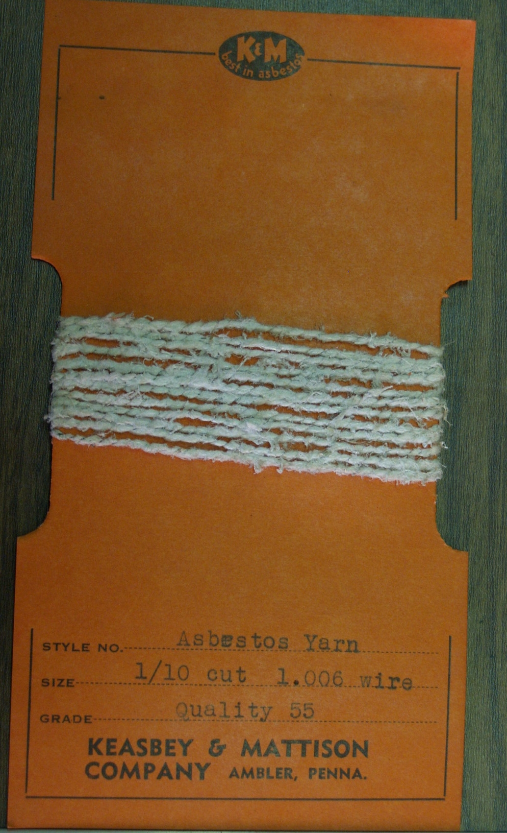 "Asbestos yarn sample.    Keasbey and Mattison product samples from a ""school exhibit of asbestos products,"" date unknown.   Wissahickon Valley Historical Society."