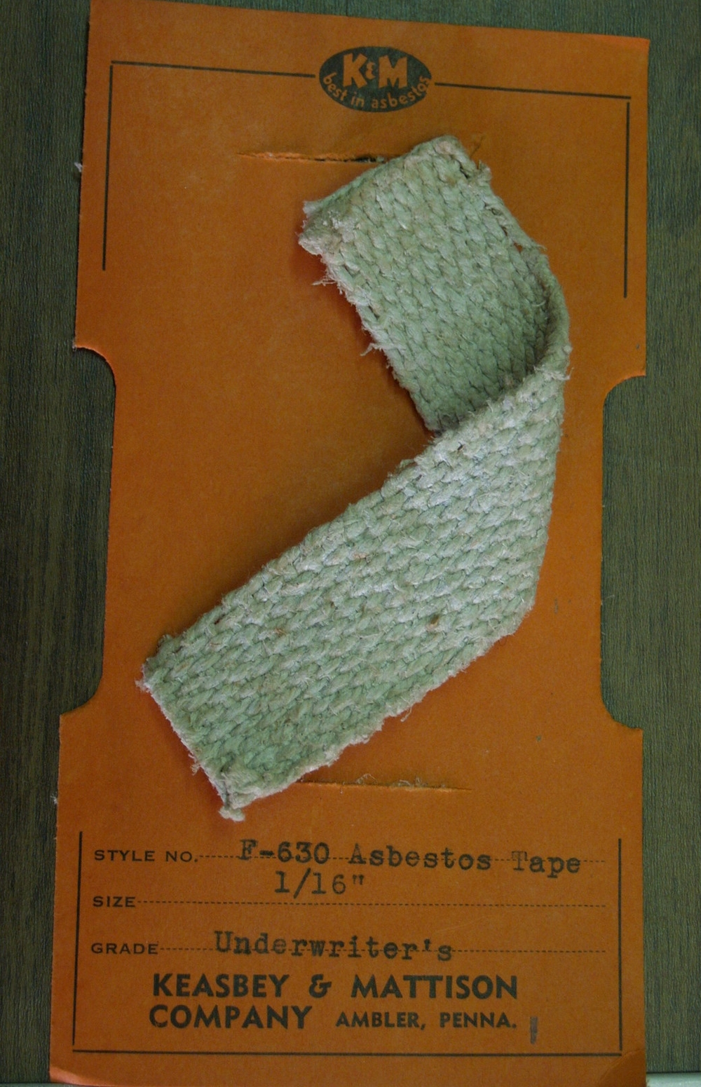 "Asbestos tape sample.  Keasbey and Mattison product samples from a ""school exhibit of asbestos products,"" date unknown.     Wissahickon Valley Historical Society."