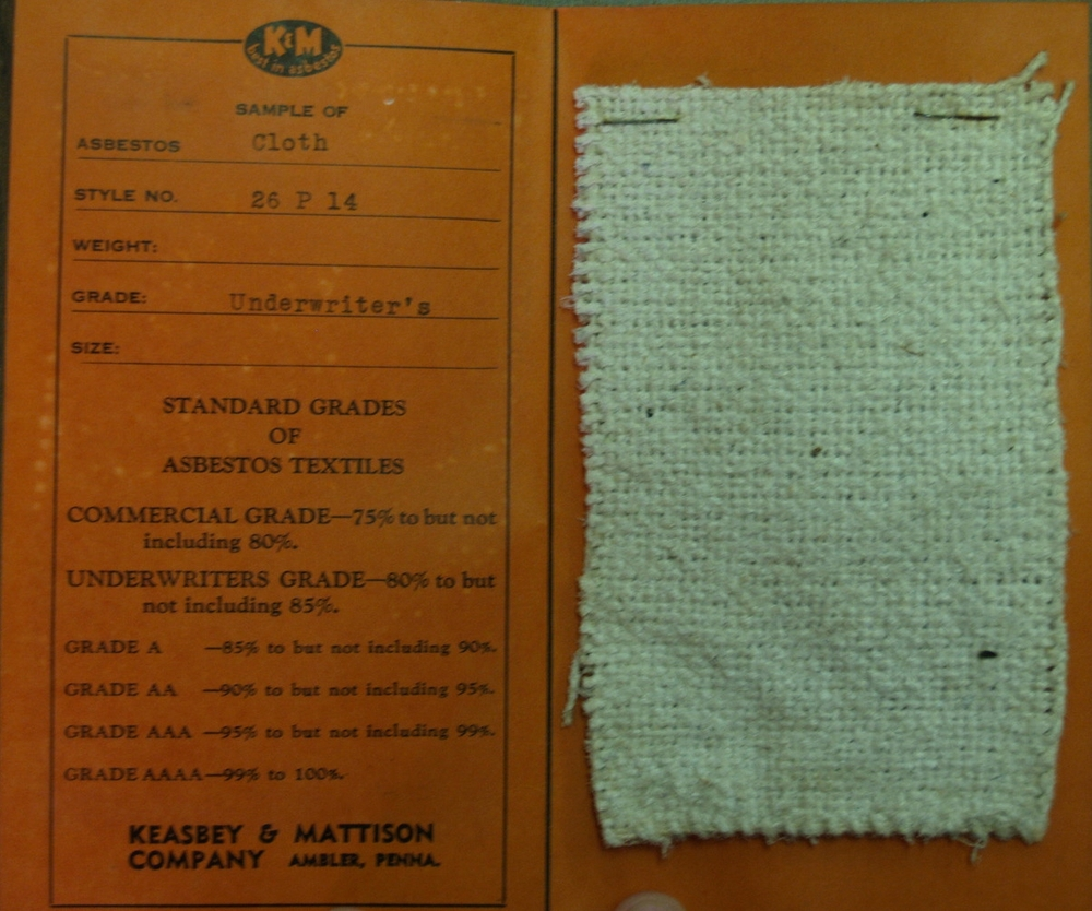 "Asbestos cloth sample.    Keasbey and Mattison product samples from a ""school exhibit of asbestos products,"" date unknown.   Wissahickon Valley Historical Society."