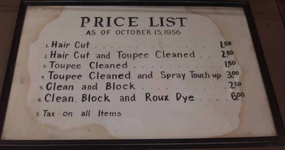 Price list for Ambler barber shop, ca. 1956.   Wissahickon Valley Historical Society.