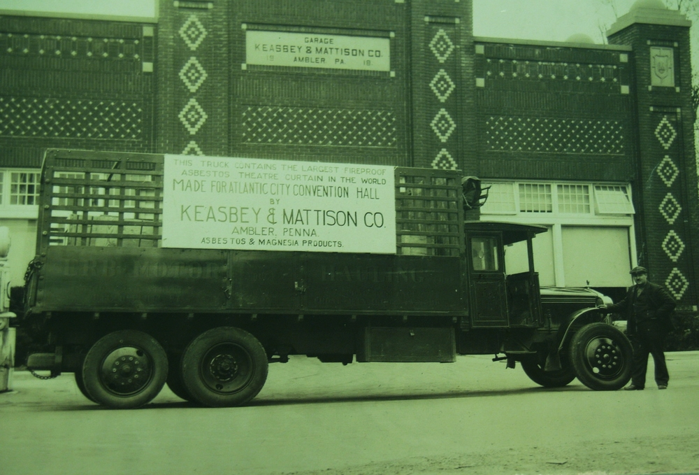 Keasbey and Mattison garage with truck advertising asbestos curtain, ca. 1920s.   Newton Howard Photograph Collection, Historical Society of Montgomery County.
