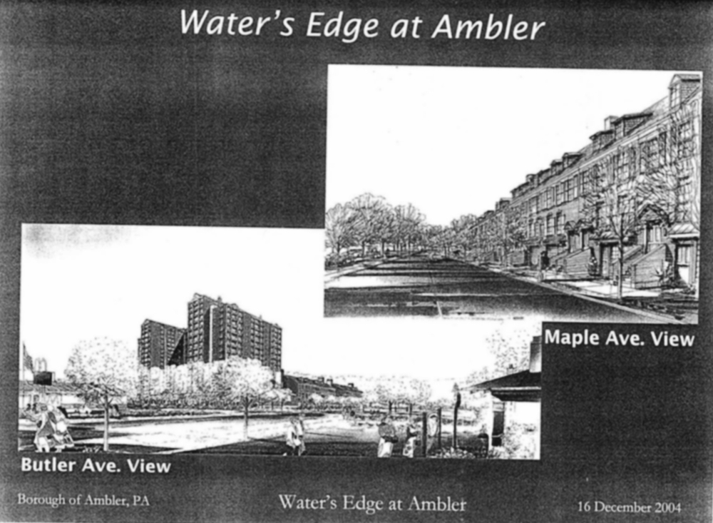 """Water's Edge at Ambler,"" excerpt from 2004 high-rise proposal.   Kane Core, December 16, 2004. Courtesy of Tim Hughes."