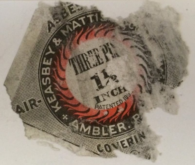 Asbestos pipe insulation label, ca. 1929.  Courtesy of Nancy James.