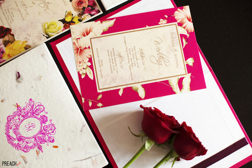 Custom Wedding Invitation Floral - Prerak & Manali