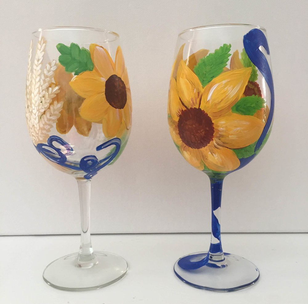 Sunflower Wine Glasses.JPG