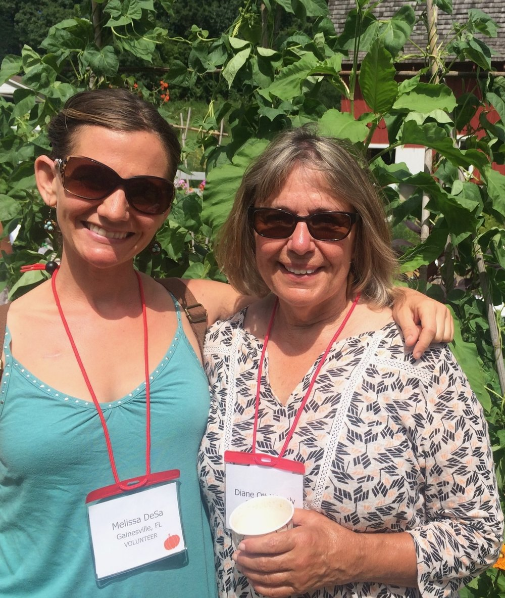 Melissa DeSa (left) shares a moment with DIanE oTT Whealy, Cofounder of Seed Savers EXchange, at Heritage Farm in Decorah, Iowa.
