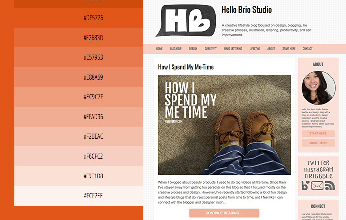 Blog's color scheme based off of tints of an original orange-red color - HelloBrio.com