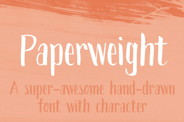 Paperweight hand drawn font with character